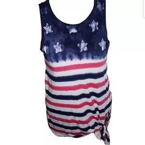 CHAPS Tank TOP Women Patriotic Medium Shirt Ter